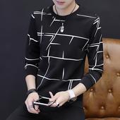 秋季长袖T恤男圆领韩版卫衣青少年学生衣服修身打底衫秋衣男装潮