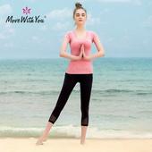 瑜伽服套装女夏季专业紧身健身服短袖跑步运动服大码显瘦瑜珈服