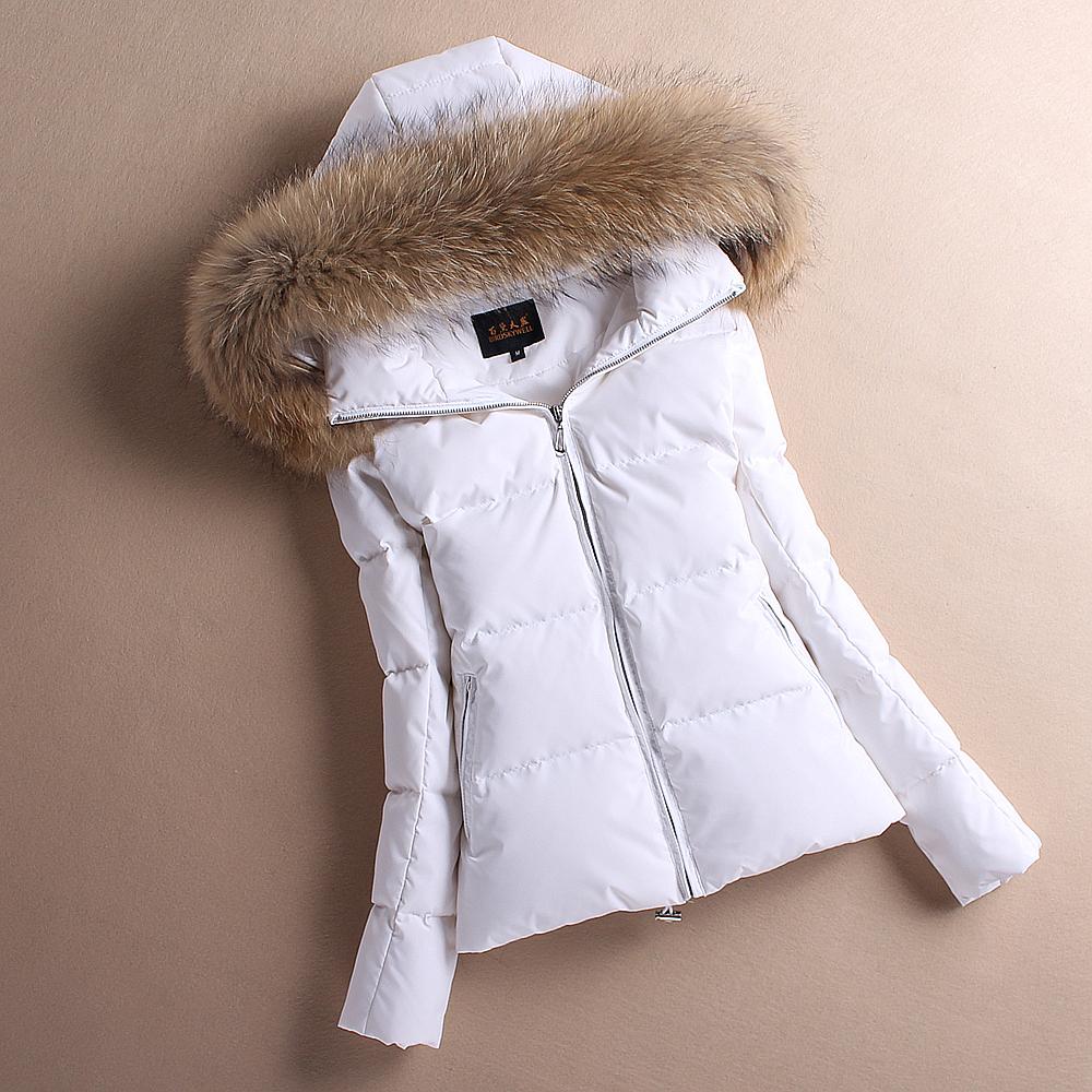冬装大毛领修身小款白色羽绒服短款女韩国加厚白鸭绒外套收腰正品