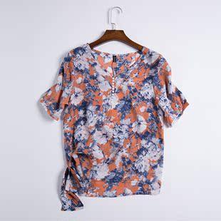 雪纺衫2016夏季圆领大码上衣女装胖mm修身短袖显瘦时尚百搭韩版潮