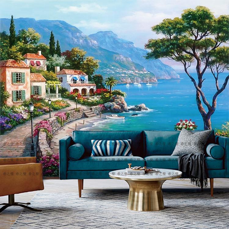 欧式3d壁画地中海油画风景墙纸客厅沙发电视背景墙壁纸无缝墙布