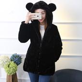 秋冬兔毛仿皮草外套母女母子装韩版收腰小熊连帽中长款女装加厚
