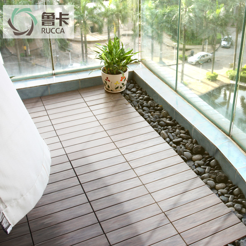 鲁卡生态木户外地板阳台木地板DIY 花园灰色塑木露台地板防腐木板