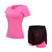 【天天特价】速干跑步运动服 防走光短裤短袖两件套大码健身套装