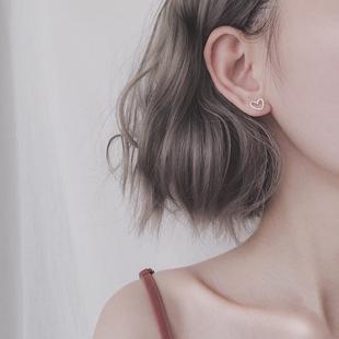 镂空心形爱心耳环耳钉女s925纯银气质日韩国简约百搭个性桃心学生
