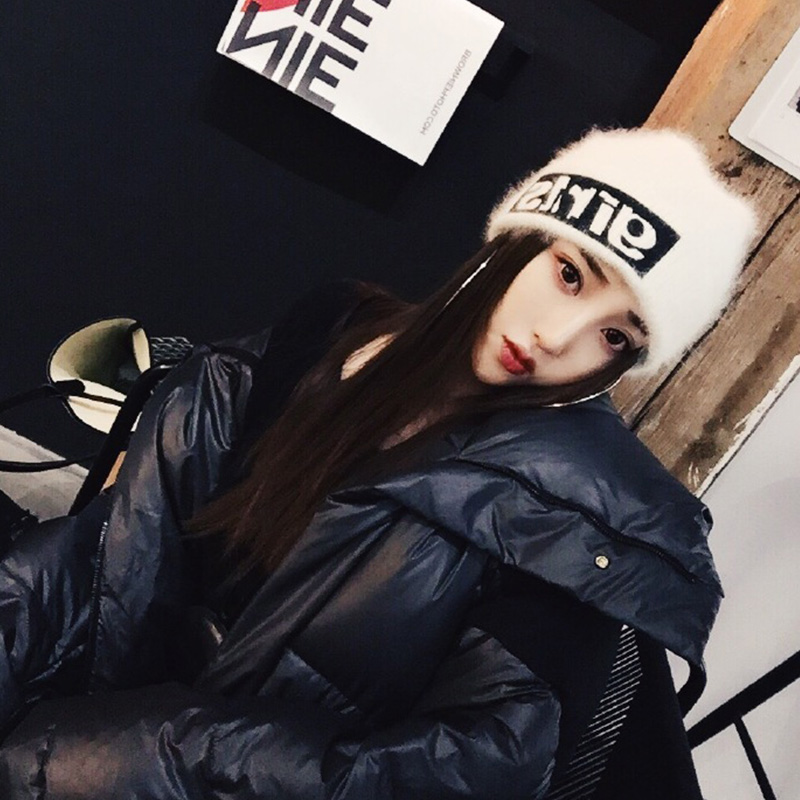 帽子女冬天韩版潮笑脸针织帽甜美可爱毛线帽秋冬季保暖月子帽棉帽