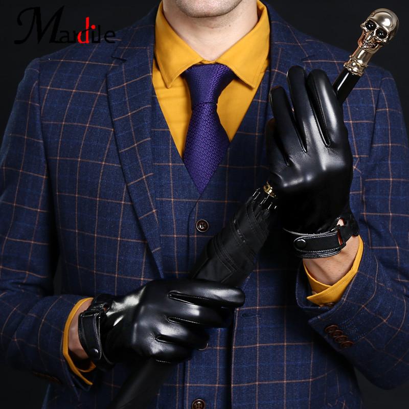 手套男冬季触屏薄款加绒加厚骑行摩托车真皮手套 高端品牌玛狄乐