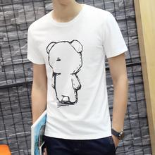 男夏潮流 韩版 青少年短袖 圆领纯棉上衣服半袖 t恤白色修身 夏季男装