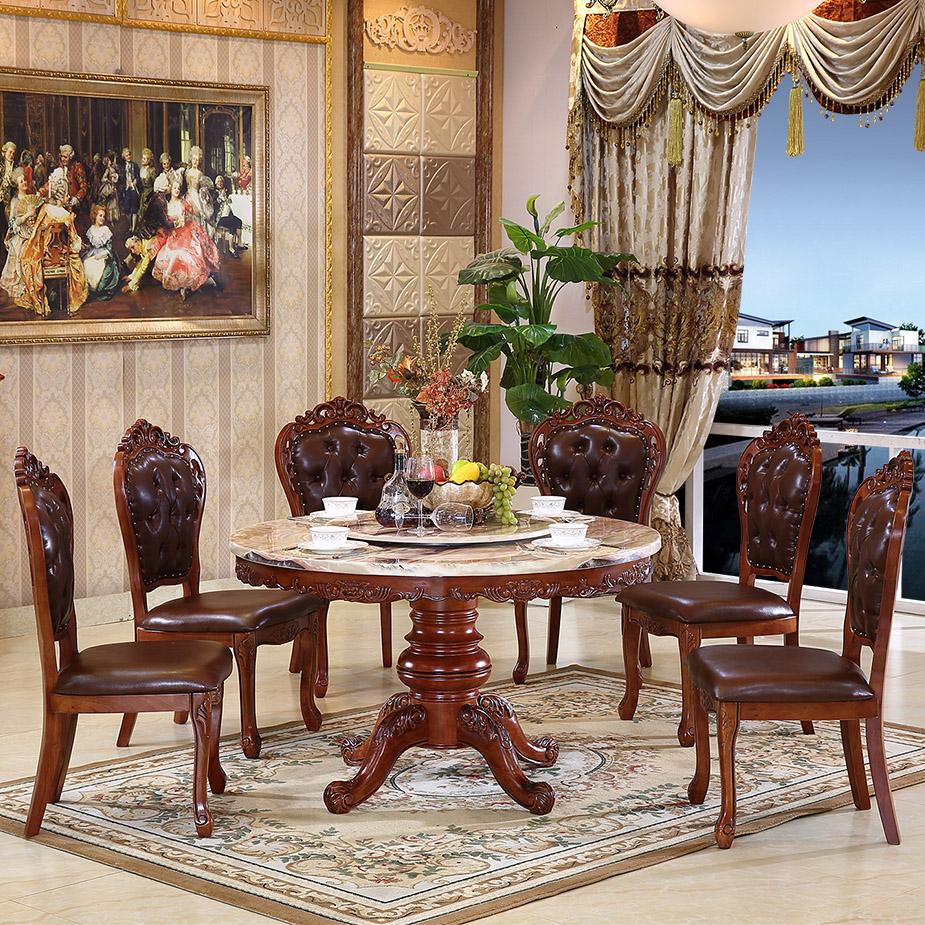 欧式餐桌大理石圆桌 美式圆形餐桌实木圆餐桌酒店大1