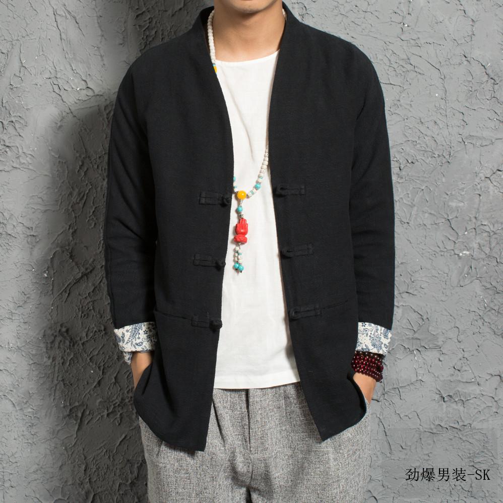 男装外套欹o#_中国风男装复古大码盘扣麻料外套亚麻中式棉麻上衣常规休闲汉服潮