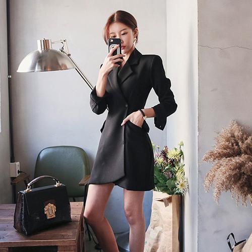 职业工装OL潮东大门连衣裙薄西装新款春夏女装外套中长款修身韩国