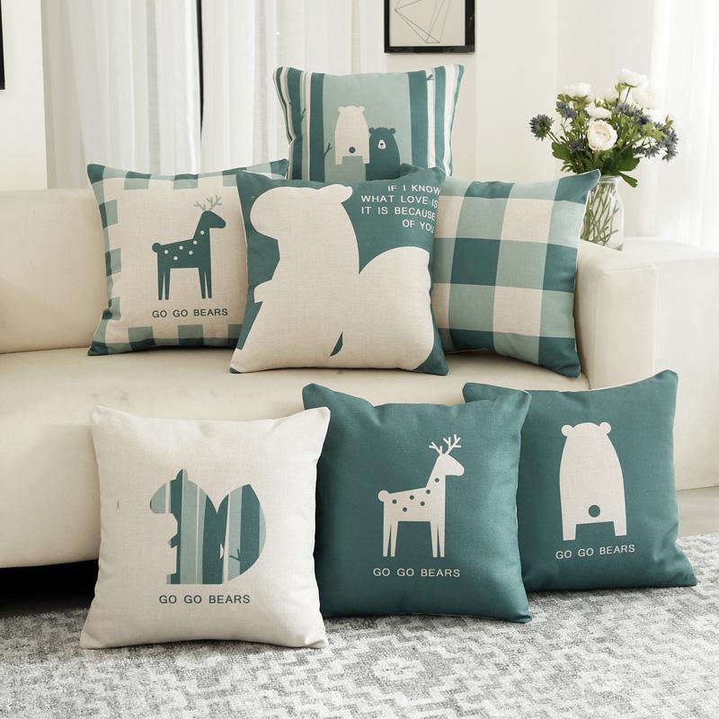 沙发靠背靠垫家用 枕套卡通不含芯汽车 办公室现代午睡简约