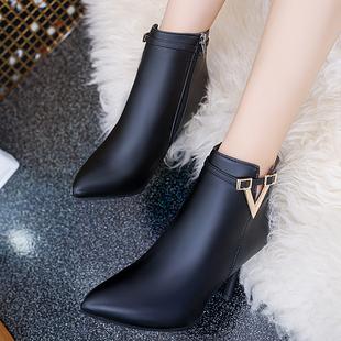 2017秋冬新款简约时尚超高跟女短靴细跟尖头女靴及靴拉链马丁靴