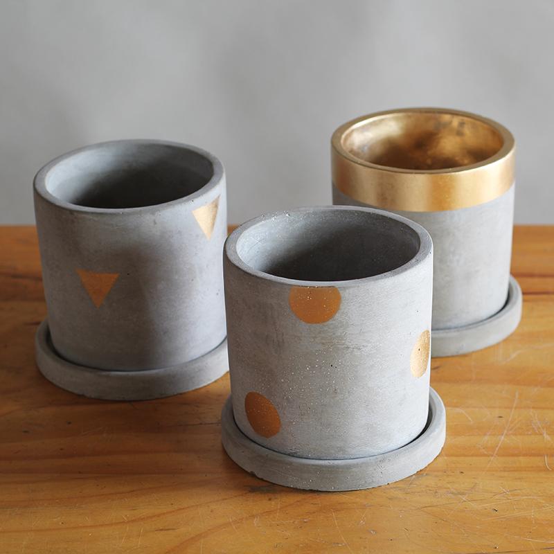 DOROQ 多洛库 金色系列圆柱水泥花盆
