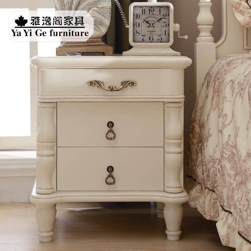 美式田园实木床头柜欧式烤漆双抽储物柜小户型简易柜