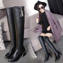2016冬季新款潮 中跟过膝长靴女 粗跟水钻拉链瘦腿弹力靴高筒靴子