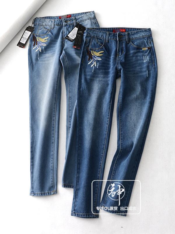 实惠款CDK108罕见货!民族风刺绣图案!休闲猫爪痕士小脚牛仔裤