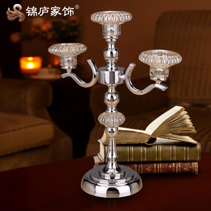 欧式家居蜡烛台摆件烛光晚餐玻璃铁艺婚礼道具工艺品
