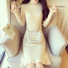 韩版甜美小清新百搭气质高领木耳边喇叭袖纯色修身针织打底连衣裙