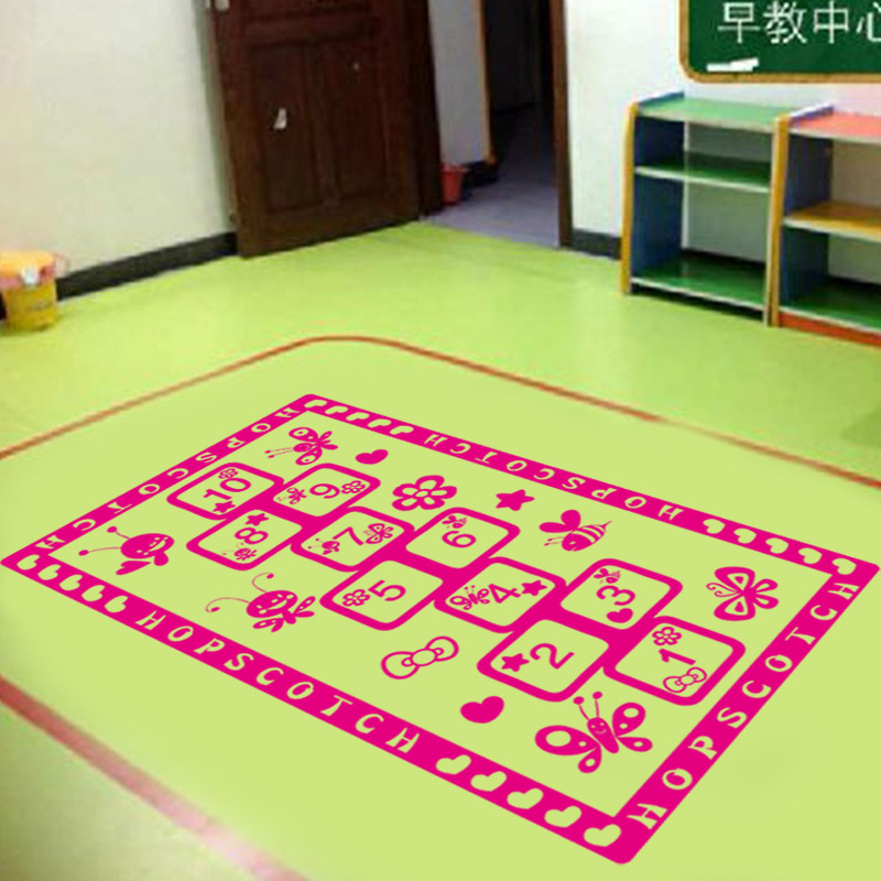 特大儿童房幼儿园布置跳格子游戏地贴画客厅卧室跳房子格子地贴纸