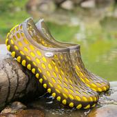 防水凉鞋 男女 青少年学生塑料塑胶拖鞋 黑色透气网鞋 夏季沙滩洞洞鞋