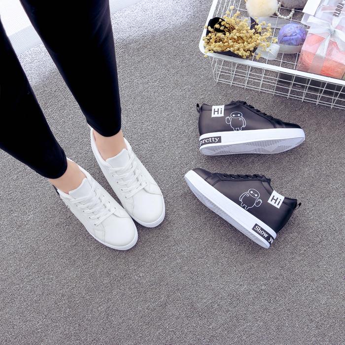 小白鞋系带季韩版潮高帮学生运动春秋增高厚底松糕大白皮面