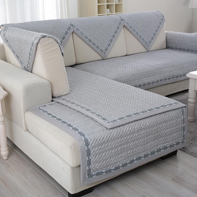 高档现代中式亚麻全棉防滑沙发垫布艺坐垫套罩扶手靠背巾格子秋冬图片