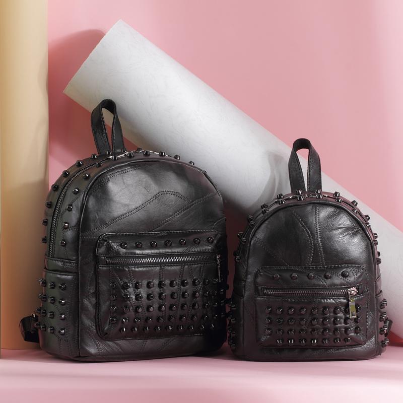 2016新款包包真皮羊皮女包潮流女士韩版学院风铆钉双肩背包0315