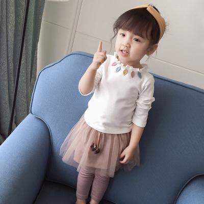 秋季女童打底衫1-3童装儿童长袖叶子花边领上衣0-2岁女宝宝t恤4