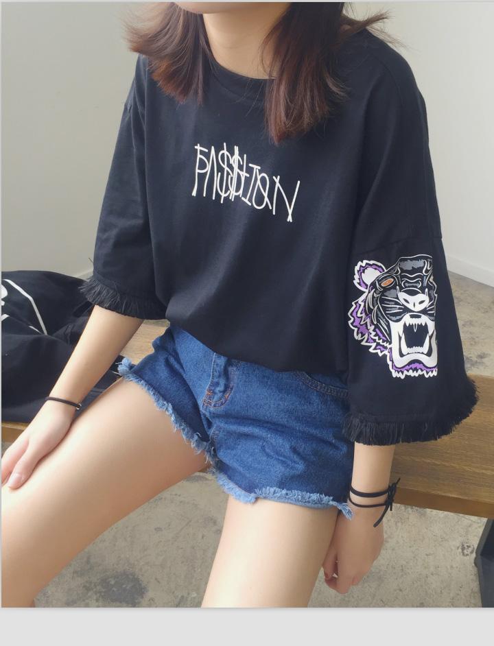 bf夏大码韩国印花短款虎头短袖学生上衣流苏宽松 七分袖女