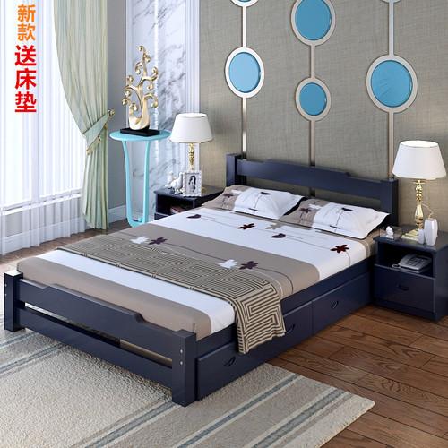 新款现代简约实木床 白色地中海 床1.21.51.8米双人床单人床