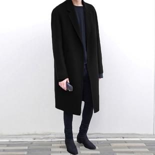 冬季韩版双面羊绒呢子大衣男中长款毛呢外套落肩呢大衣风衣男装