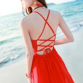2016新品性感开叉露背沙滩裙吊带高腰长裙修身显瘦海边度假连衣裙