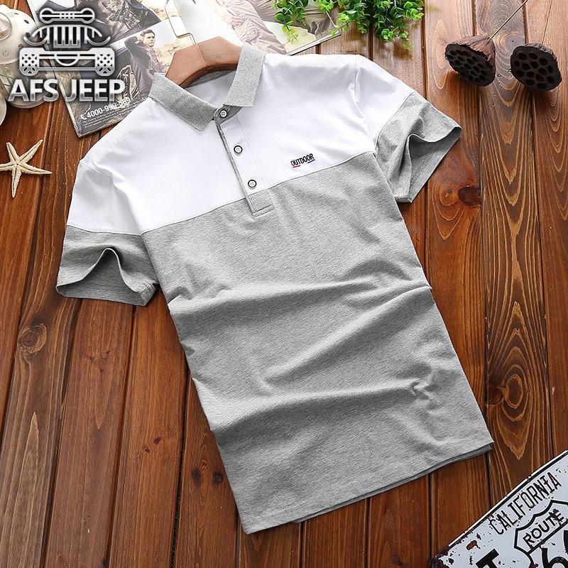 夏季新款拼色短袖T恤男士宽松大码半袖衫AFS JEEP男装纯棉翻领t恤