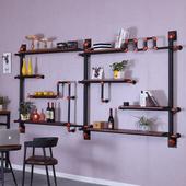 铁艺墙上装饰架美式水管书架复古壁挂置物架创意实木隔板简约酒架