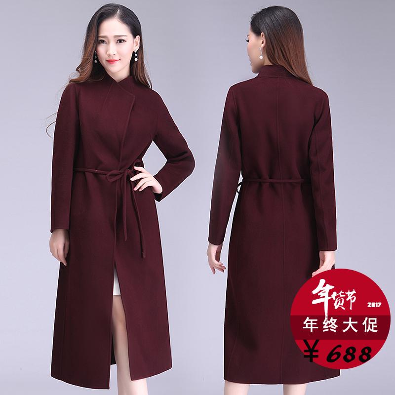 腰带修身大衣外套双面秋冬长款羊绒女中高端羊毛
