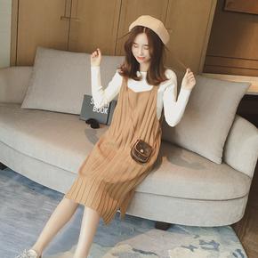 秋季新款女装薄毛衣外套韩版中长款宽松套头毛衫背带针织衫连衣裙