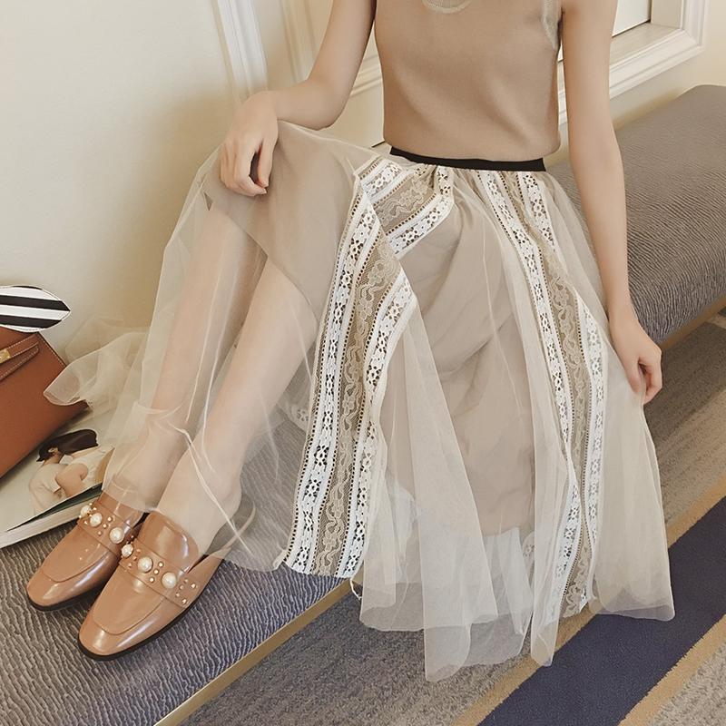 學生春季女韓版百搭蕾絲裙子寬松長款網紗裙半身