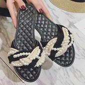 热卖2017夏新款欧美走秀款珍珠串珠草编麻绳平跟凉拖鞋绑带女凉鞋