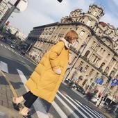 2016新品冬季女韩版学院纯色过膝中长款棉服宽松保暖加厚棉袄棉衣