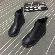 秋冬新款 女鞋 休闲平底拉链短靴缝制软底软面女靴子马丁靴潮 包邮图片