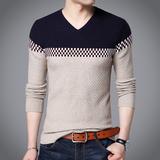 秋季男士纯棉V领长袖T恤青年韩版修身线衣男装薄款大码针织打底衫