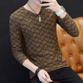 青年衣服修身 型网纱伊索顿体恤 秋冬装 长袖 V领男装 T恤2017新款 男士