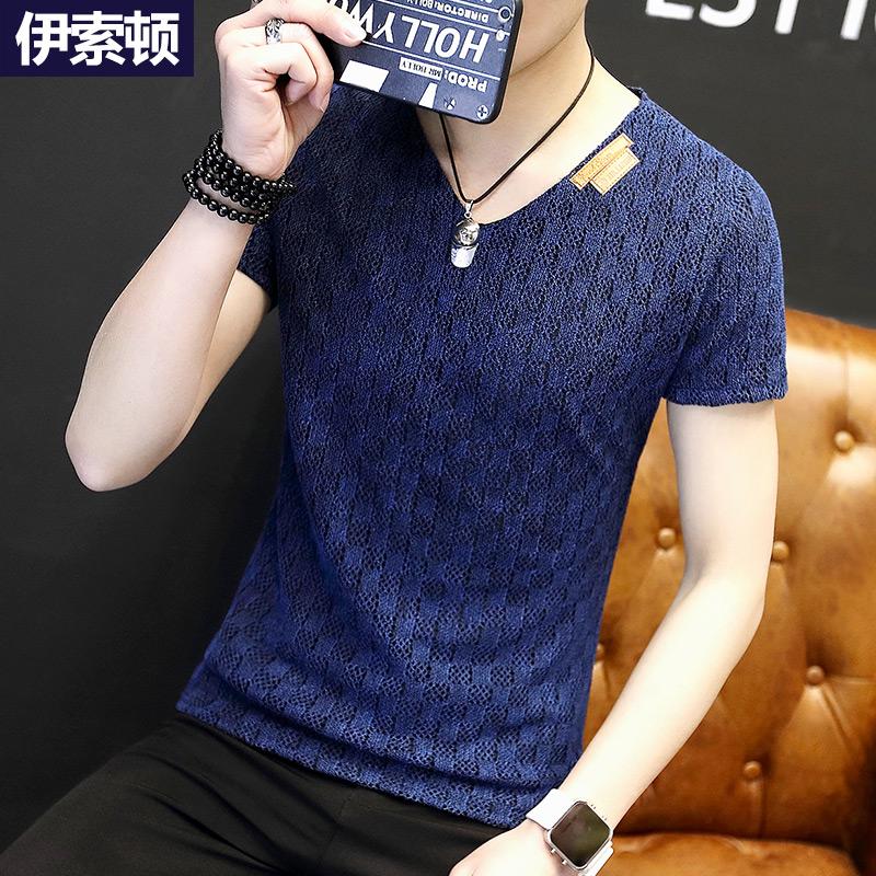 【包邮】夏季男士V领短袖t恤衫