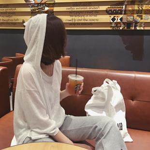 显瘦套头连帽学生针织T恤薄款防晒衣空调衫女装批发厂家直销夏装