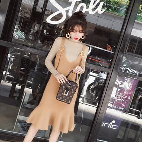 2017秋冬新款女装韩版chic吊带两件套装裙子中长款针织鱼尾连衣裙