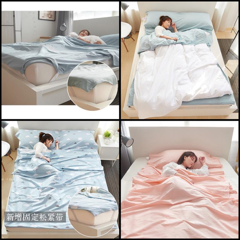 双人棉睡袋内胆 单 酒店隔脏床单 固定松紧带捆绑 水洗棉旅行睡袋