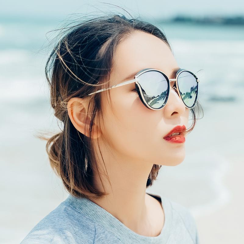 蓝其眼镜女太阳镜女圆脸个性偏光可配近视眼镜开车墨镜女2017新款