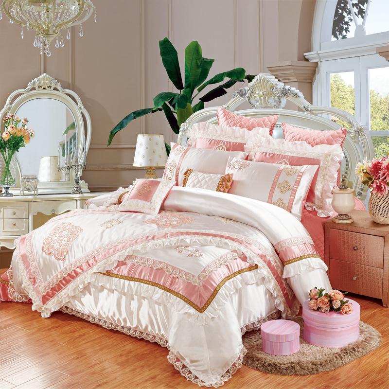 欧式床盖床裙11件套奢华真丝多件套蕾丝宫廷样板房绣花床品套件
