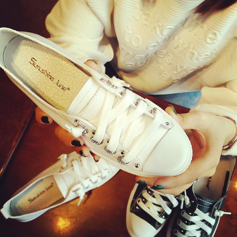 平底水鉆女鞋單鞋鉚釘板鞋低幫休閑小白鞋學生春季運動鞋真皮